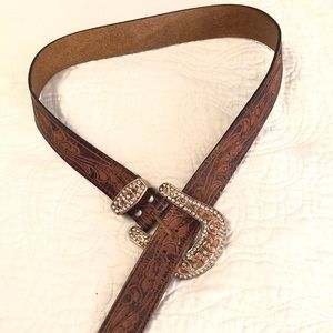 Leather Western style Belt with copper buckle